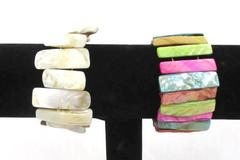 2 Abalone Shell Bracelets Multicolored & Opalescent Stretch Bangle Jewelry Wide