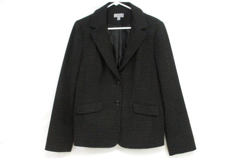 Amber Sun Collection Women's Black Two Button Front Blazer Career Jacket Sz 14