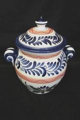 Talavera Tabletops Unlimited Blue Semi Floral Cookie Jar W/ Lid