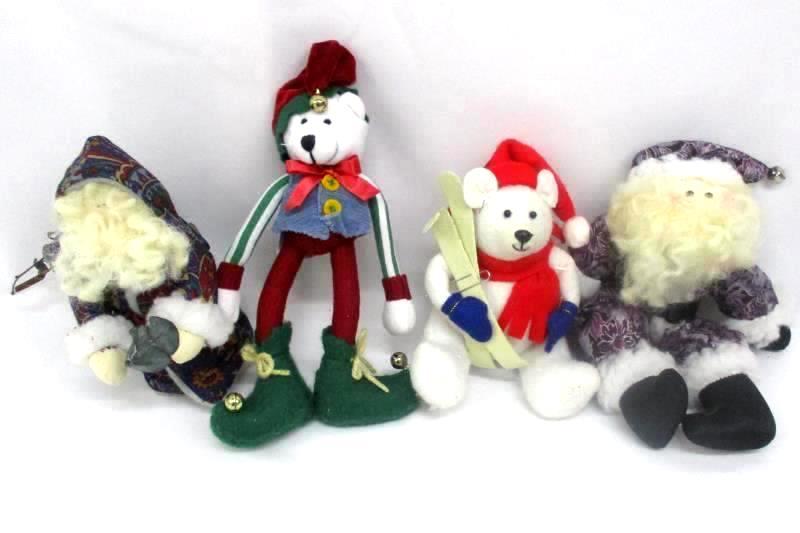 4 Christmas Shelf Table Top Decor Items Polar Bear Elf 2 Santas Polar Bear