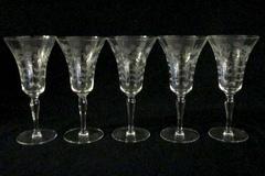 Set of 5 Stemmed Cordial Glasses Etched Flower and Leaf Design