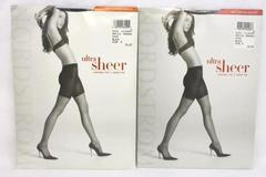 Lot of 2 Nordstrom Women's Black Ultra Sheer Control Top Pantyhose Sz D Sealed