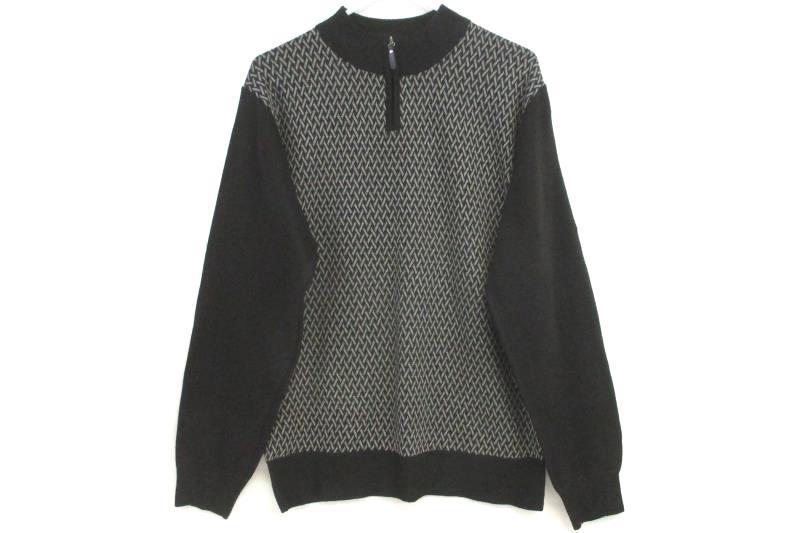 Marx & Dutch Men's Quarter Zip Pullover Sweater Black Gray Print Mock Neck Sz M