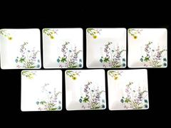 Pier 1 Imports Set of 7 White Floral Square Salad Lot  Dessert Plates 6""