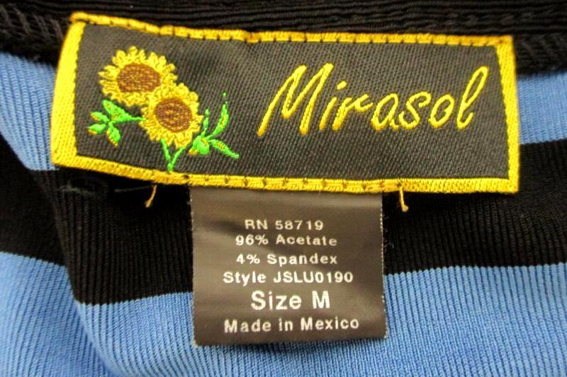 Mirasol Women's Travel Knit Blouse Top Blue Black Striped Button Hem Square Sz M