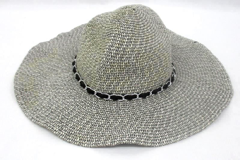 Women's Wide Brim Sun Hat Black And White One Size