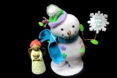 2 Hallmark  Let it Snow Snowman Omura Grandma Angel Christmas Decor Items