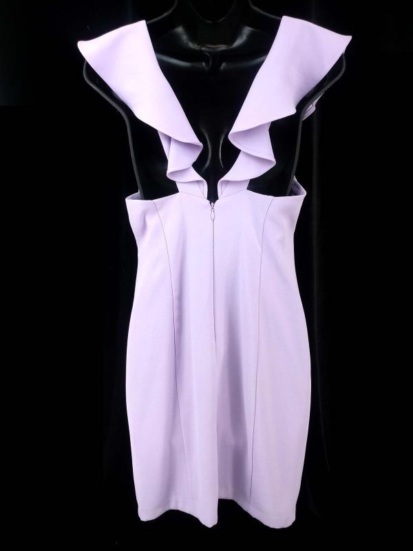 AIDAN by Aidan Mattox Bodycon Dress Ruffle Straps Light Purple Crepe Sz 6