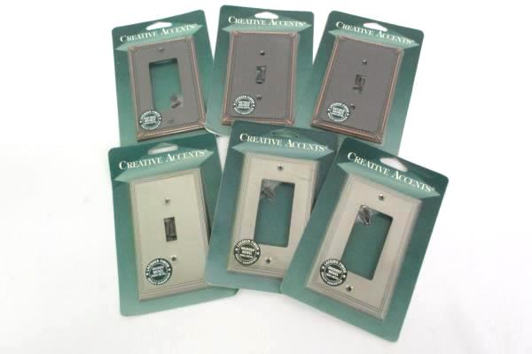 Lot of 6 Creative Accents Wall Plate 3 Toggle & 3 Rocker Config. Lacquer Finish