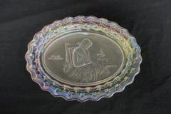 Vintage 1970s Fostoria Iridescent Crystal Plate Old Glory 1777 Decorative