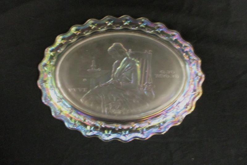 Vintage 1970s Fostoria Iridescent Crystal Plate Old Glory 1777 Decorative