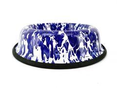 Golden Rabbit Enamelware Pet Dish Marbled Blue White Food Water Bowl For Cat Dog