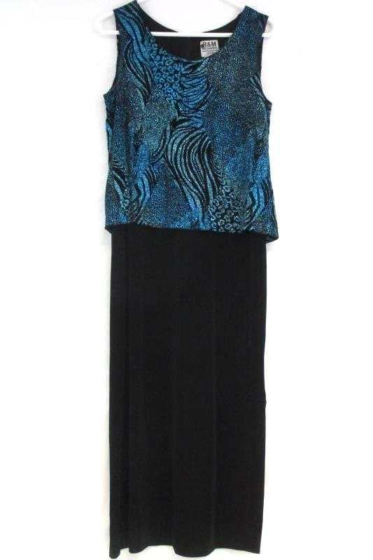 R&M Richards Petite Black Teal Glitter Evening Formal Dress Travel Knit Size 8P