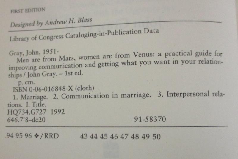 Men Are from Mars Women Are From Venus by John Gray Ph D Hardback 1992
