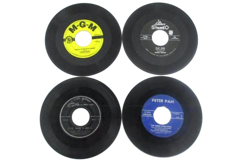 Lot of Four Vintage 45 RPM Records Featuring Children's Songs