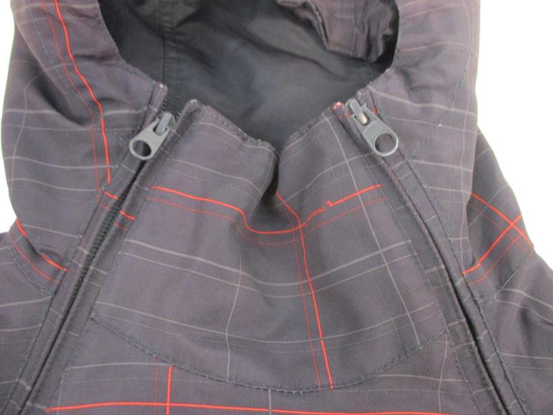 Ragwear Men's Asymmetrical Full Zip Plum Plaid Ski Coat Jacket Hooded Sz S
