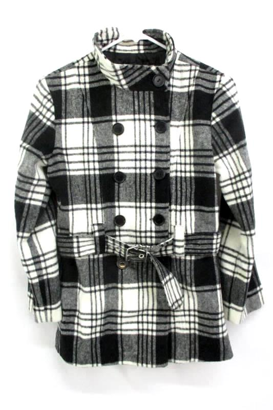 Women's Black White Double Breasted Belted Peacoat By BCX Girl Size L