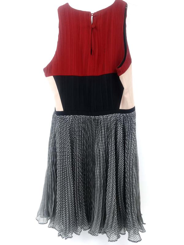 GREYLIN Dress Color Block Pleated Gingham Lined Red Black Tan White Women's XS