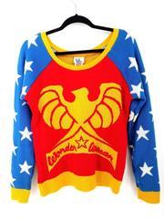 DC Comics Wonder Woman Pullover Sweater by Junk Food Womens Sz Medium