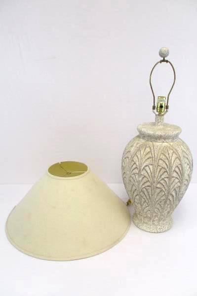 "Ceramic Wide Vase Shape 30"" Table Lamp With Cream Colored Shade"