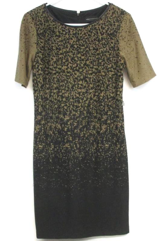 Connected Apparel Women's Black Toffee Two Tone Short Sleeve Dress Size 8p