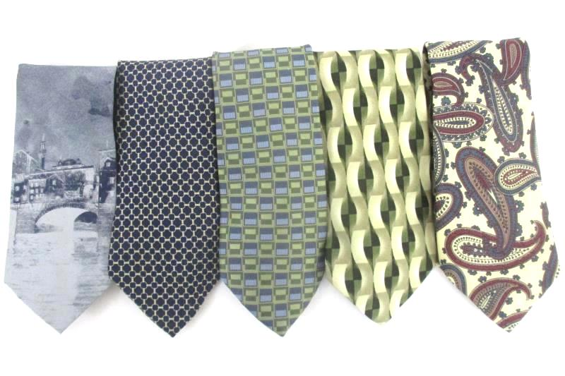 Lot 5 Men's Neck Ties Textured Polyester Silk Ferucci Bachrach Brooks Brothers