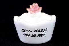 Vintage Enrica Ceramics Trinket Dish Ring Holder With Raised Rose