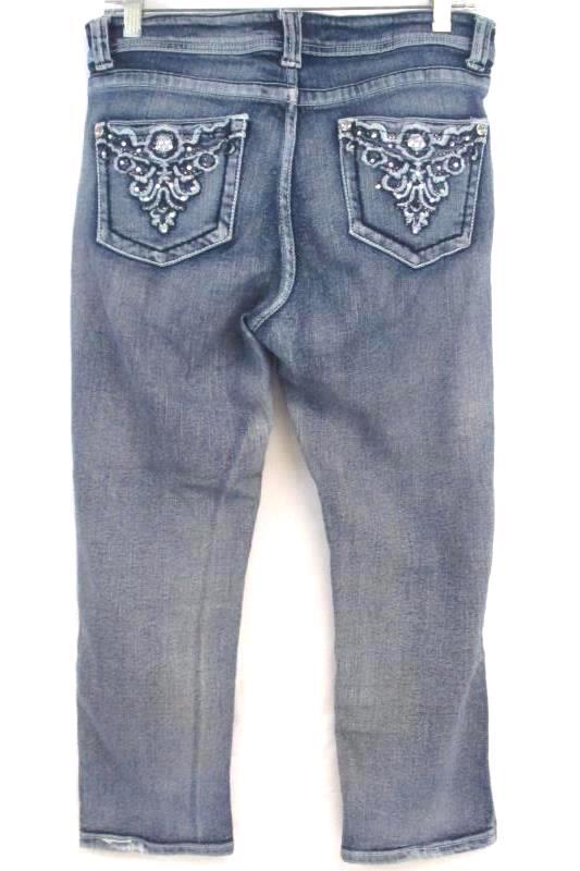 Venus Women's Stone Washed Denim Jeans Capri's With Diamond Rhinestone's Sz 8
