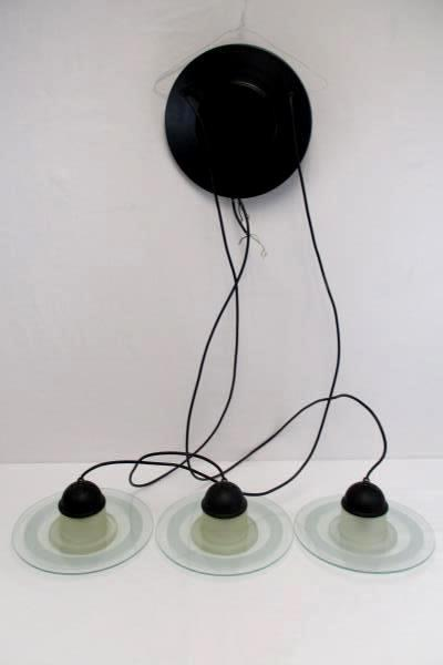 """Tiered Hanging UFO Frosted Glass Light Lamp 6'3"""" Adjustable Length Flush Ceiling"""