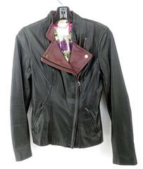"""TED BAKER """"Oleah"""" Biker Jacket Black Leather Rose Gold Zippers Moto Sz 1"""