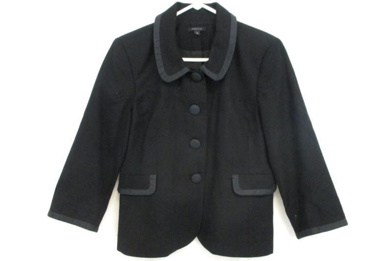 Semantiks Women's Textured Black Blazer Jacket 4 Button Front Cotton Blend Sz 10
