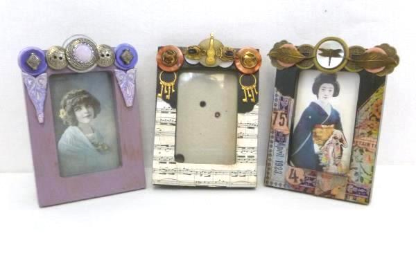 "Lot of 3 Wood Picture Frames 3"" X 2""  Mercury Art Frames Hand Designed"
