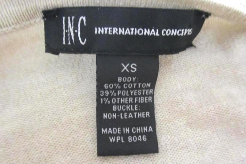 INC International Concepts Cardigan Shawl Sweater Ivory Tasseled Women's Size XS