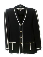 Vtg St John by Marie Gray Formal Blazer Cardigan Black Ivory Womens Size 4