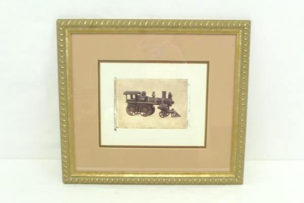 """Framed and Matted 13 x 15 Print """"Vintage Steam Engine"""" Train Wall Hanging"""