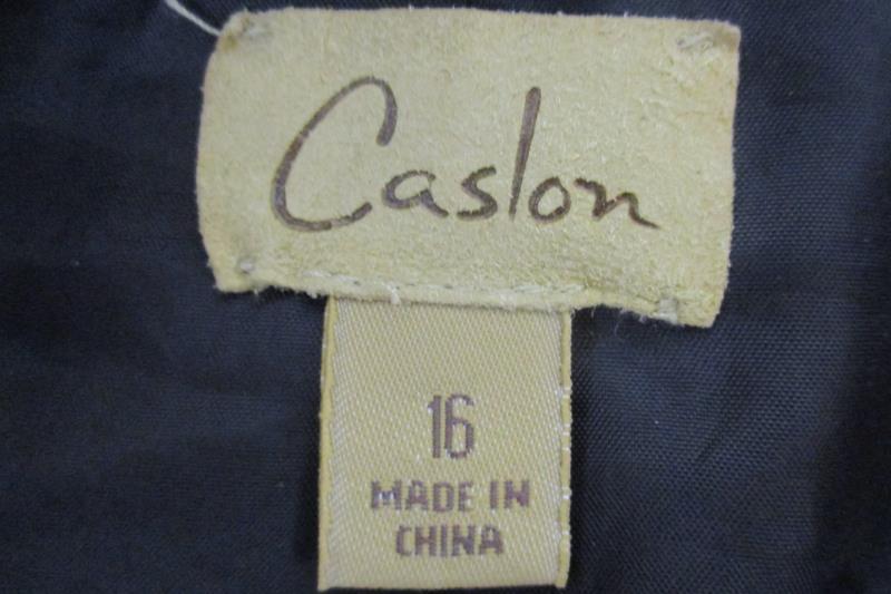 Caslon Women's 3 Button Front Black Blazer Career Jacket Polyester Blend Size 16
