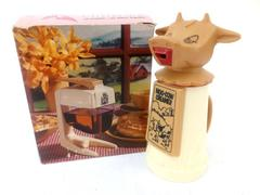 Lot of 2 Vtg Moo Cow Creamer & Syrup Dispenser w/ Box Mid Century Whirley Ind.
