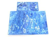 3 Piece Abstract Art Paintings Original Art On Wood Wall Decor Blue White
