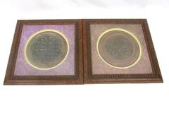 Lot of 2 Designs Direct Framed Wood Wall Hangings Fleur-De-Lis Abstract