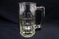 "Extra Large Clear Glass Etched Engraved Beer Stein Mug ""Miller's"" Gift"