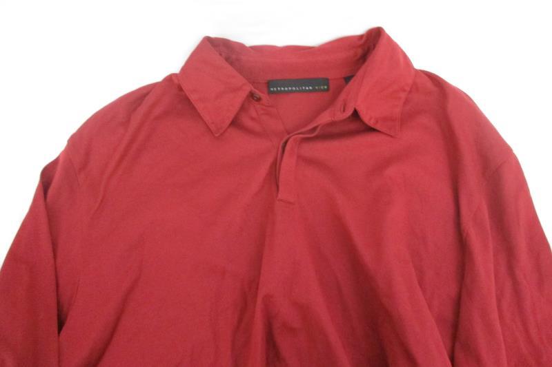 Metropolitan View Quarter Button Up Shirt Long Sleeve Red Cotton Men's Size XL