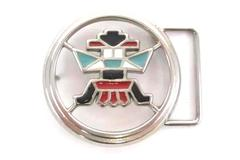 Southwest Aztec Pattern Belt Buckle Round Silver Metal and Red Black Enamel