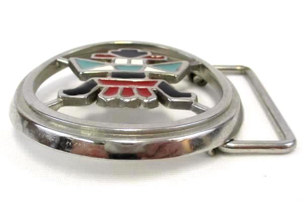 Southwest Aztec Pattern Belt Buckle Round Silver Metal and Red Black Enamel