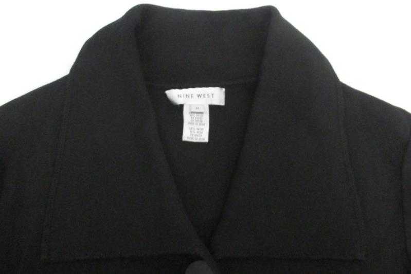 Nine West Women's Black Long Cardigan Sweater 3 Button Rayon Blend Size M