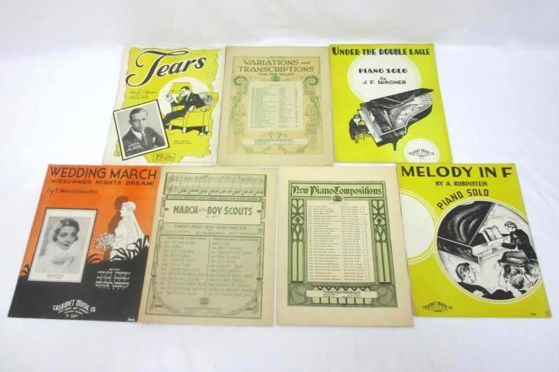 Lot of 7 Vintage Piano Sheet Music Pieces Wedding March and More