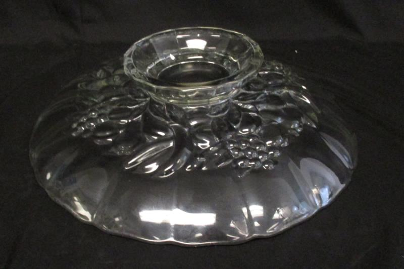 Vintage Clear Glass Footed Fruit Plate Cake Stand Fruit Design 12.5 Inch Round