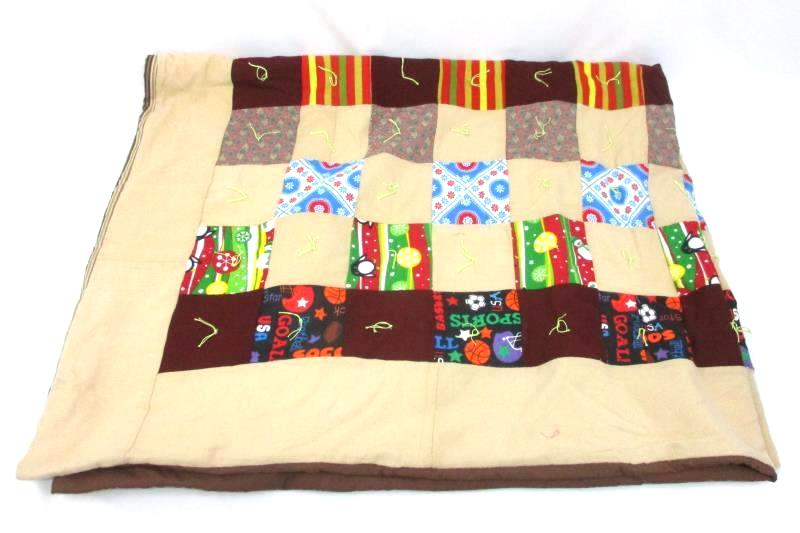 Handmade Patch Quilt Lap Travel 54 Inch X 67 Inch Sports Flowers, Stripes