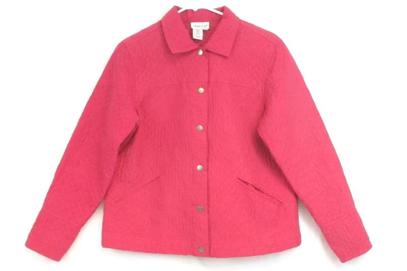 Coldwater Creek Jacket Light Weight Quilted Silk Pink Women's Size PM Petite