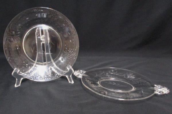 Lot of 2 Etched Glass Round Plate and Oval Handled Platter