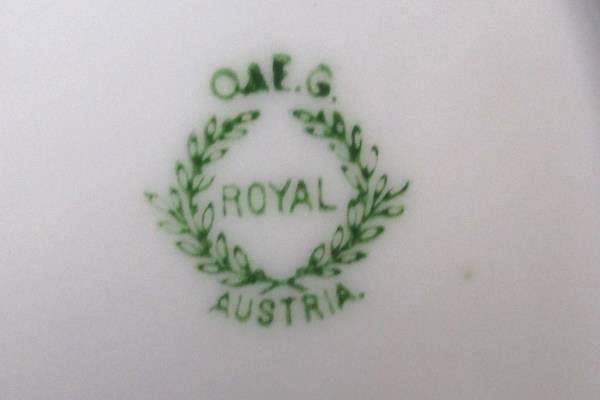 Vintage O & EG Royal Austria Salad Plate Hand Painted Opalescent Orange
